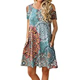 Misyula Style Church Dresses for Women, Girls Boho Dress Summer Party Wear Scoop Neck Cold Shoulder Apparels Colorful Printings Elegant Midi Length Tropical Breathable Floral XL