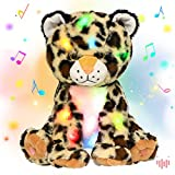 Hopearl LED Musical Plush Leopard Light up Cheetah Stuffed Animal Panther Floppy Night Lights Glow in The Dark Birthday Gifts for Kids Toddlers Boys, 11''