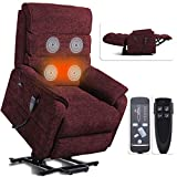 Irene House 9188 Dual OKIN Motor Lift Chair Recliners for Elderly Infinite Position Lay Flat Recliner with Heat Massage Up to 300 LBS Electric Power Lift Recliner Chair Sofa (Red Chenille)