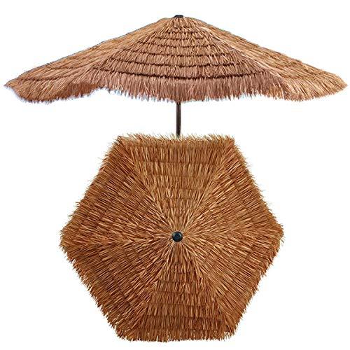 Parasol 240cm en Paille De Plage Hawaïenne Tropicale, en Raphia Hula, Ombre De Jardin Patio Extérieur, avec Manivelle, Couleur Naturelle