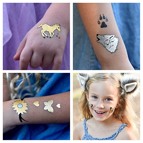 Twink Designs Temporary Tattoos for Kids | 22 Individual Sheets | 144 Tattoos | Great for Party Favors, Goody Bags and Prizes for Boys and Girls | Fake Metallic Temporary Tattoos For Children