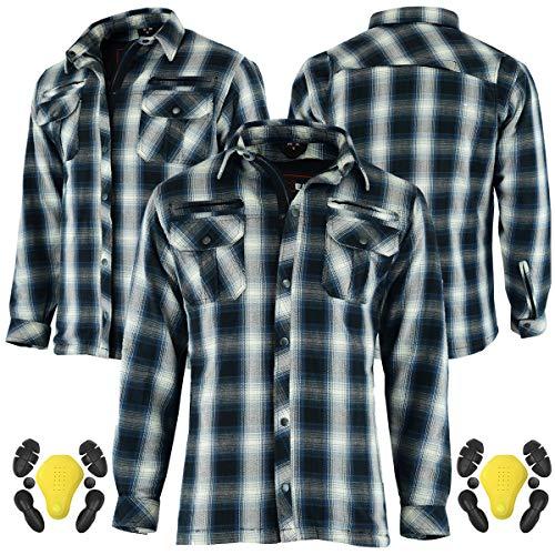 RXL Camisa protectora de motocicleta para hombre, de leñador, de franela, para hombre, con protección CE extraíble