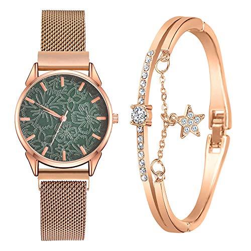 SANDA Relojes Hombre,Conjunto de Reloj, Pulsera y Caja de Lujo Moda Reloj de Pulsera Informal de Belleza Europea pequeño y Delicado-re