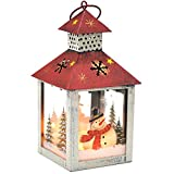 Christmas Candle Lantern Decoration - Snowman Decorative Candle Holder, Rustic, Hand Painted Metal and Glass - Table Centerpiece or Hanging Lantern Holder, Christmas Home Decorations, White