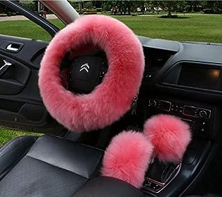 APFoo Universal 15 Inch Car Vehicle Steering Wheel Cover Pure Australia Sheepskin Wool Wheel Cushion Protector & Handbrake Cover & Gear Shift Cover Pink 1 Set 3Pcs