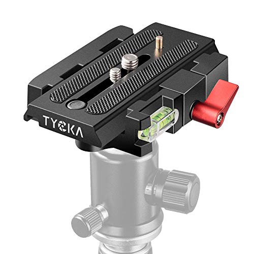 """TYCKA Quick Release Plate Adapter Universal Quick Shoe Plate with 1/4"""" 3/8"""" Screws Professional Aluminum Alloy QR Plate for DSLR Camera Camcorders Tripod Monopod"""