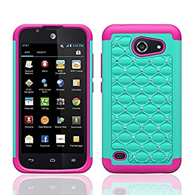 Customerfirst - For Huawei Tribute 4G LTE Y536A1 / Huawei Fusion 3 Case (AT&T Go Phone), Hybrid Studded Diamond Rhinestone Case Shock Resistant Cover Includes Suction Stand