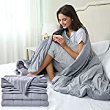 Sleep Mantra Weighted Throw-Blanket Twin Size 15-lbs - Glass Beads Filled Heavy Multilayered 48'' x 72'' Calming Blanket, Gray 2 Piece Set with Soft Cotton Mink Washable Cover