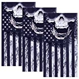 PAMASE 3 Pcs American Flag Skull Face Mask, Sheile Protective Balaclava Skeleton Motorcycle Seamless Microfiber Tube Mask, Headband Scarf Neckwarmer for Men Women Bike Riding Cycling Fishing