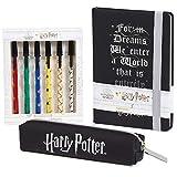 Harry Potter Set Papeleria, Material Escolar para Niñas y Niños, Incluye Estuche Escolar Cuaderno A5 y Set de 6 Boligrafos, Regalos Originales Para Niños Adolescentes