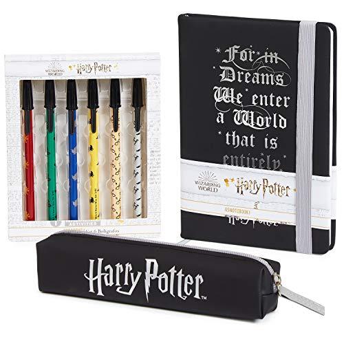 Harry Potter Notizbuch, Magischer Tagebuch A5 für Kinder und Jugendliche, Schreibwaren Set mit Stiftebox und Stifte, Fanartikel Geschenke