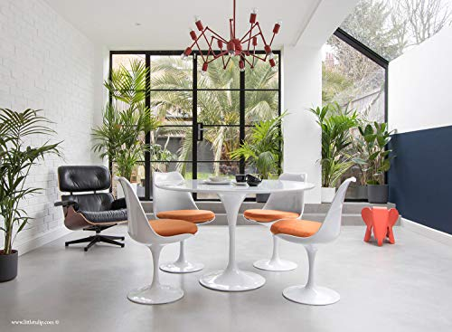 Little Tulip Shop Esstisch mit 4 Tulpen, rund, 120 cm, Weiß - Orange