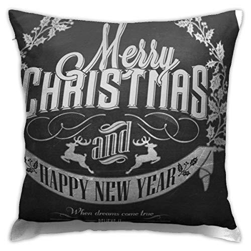 fenrris65 Fundas de almohada decorativas de 45,7 x 45,7 cm, fundas de almohada cuadradas para sofá, dormitorio, coche, muérdago, Navidad, Año Nuevo en pizarra, tiza festivos, pizarra feliz