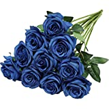 Nubry Artificial Silk Rose Flower Bouquet Lifelike Fake Rose for Wedding Home Party Decoration Event Gift 10pcs (Blue)
