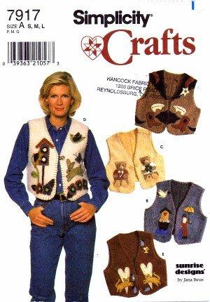 Simplicity 7917Crafts–Patrón de costura para mujer para chaleco tamaño 1020Busto 321/242