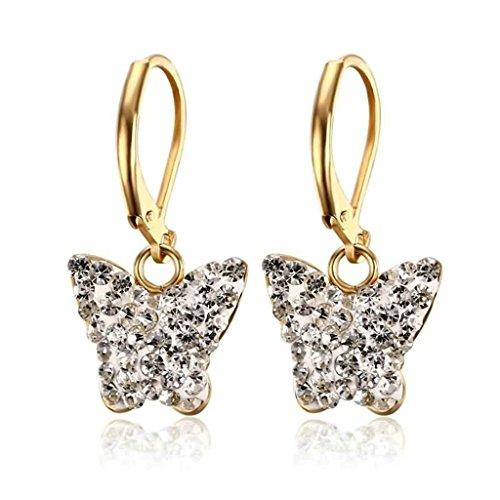 Beydodo Acero Inoxidable Pendientes Colgantes de Mujer Forma Mariposa Circonita Oro Blanco Pendientes Para Mujer