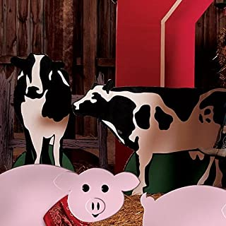 Farm Barnyard Cow Standees Farm Standup Photo Booth Prop Background Backdrop Party Decoration Decor Scene Setter Cardboard Cutout