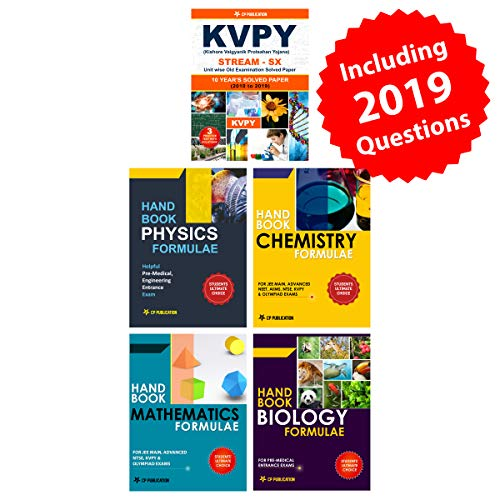 KVPY (Stream-SX) 10 Year Solved Papers (2010-2019) with 3 Practice Papers + Handbook of PCMB Formula (Set of 4 Books)