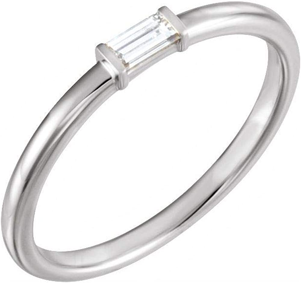 Solid Platinum 1/8 Cttw Diamond Stackable Wedding Anniversary Ring Band (.13 Cttw) (Width = 5mm)
