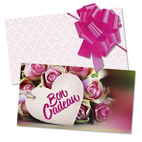 100 Bons cadeaux + 100 enveloppes + 100 noeuds rubans avec des motifs pour fête des mères. Recto à haute brillance. BL1246F