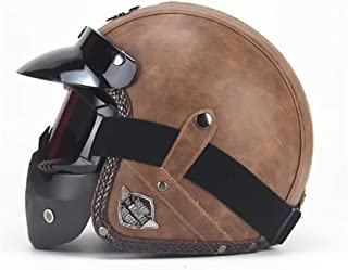 Retro Harley Open Face Half Helmet,DOT Certification Leather Scooter Jet Bobber Helmet 3/4 Manual Personality Leather Helmet Men and Women Seasons Clear Goggles Detachable Lining