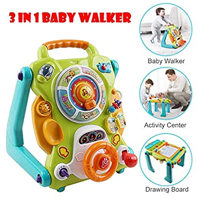Abvenc Sit-to-Stand Walker, 3 in 1 Baby Walker, Drawing Board, Entertainment Table, Music, Phone, Steering Wheel, Safety Material Educational Push Toy for Toddlers, Learning Walker (Multicolour)