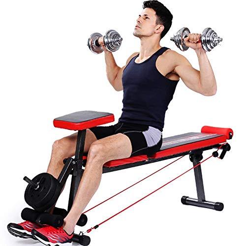 KMILE Banco de pesas para ejercicio con pesas plegable con pesas para hombres, versátil y ajustable para levantamiento de pesas y entrenamiento de fuerza