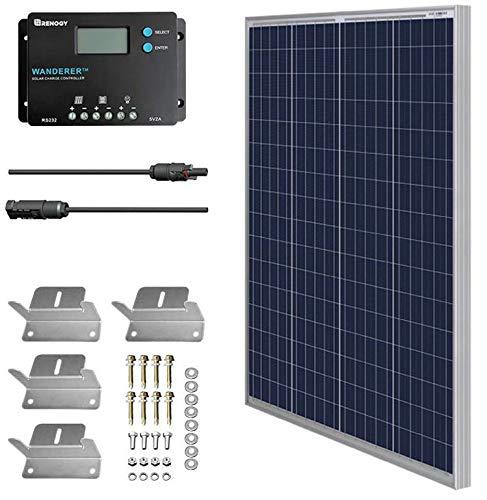 HQST Kit Panel Solar policristalino 100W 12V regulador renogy 10A Placa para Caravana Autocaravana Furgoneta Camping