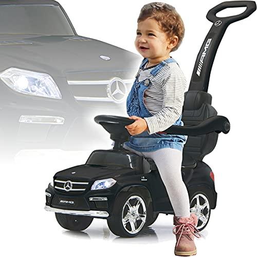 Mercedes Benz SUV AMG Rutschauto mit Schubstange Licht und Musik (offiziell lizenziert) Kinder Fahrzeug (SCHWARZ)