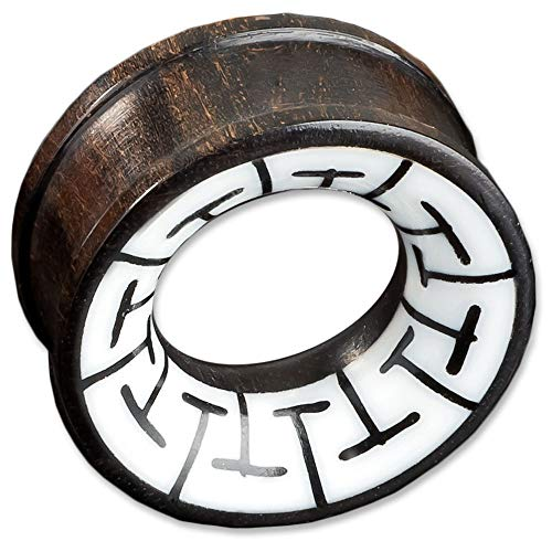 viva-adorno 1 stuk Flesh Tunnel Plug van Hout Tribal Inlay Oor Piercing Verschillende Ontwerpen 6-30mm Z15 - Ontwerp D
