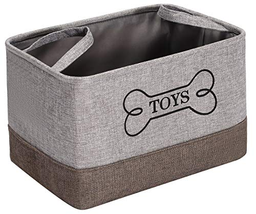 Morezi mit Griff Haustierspielzeugkiste,HundeSpielzeug Aufbewahrungsbox,asu Leinenbaumwollmischung,ideal für die Organisation von HaustierSpielzeug und HaustierTierbedarf-Grau Khaki