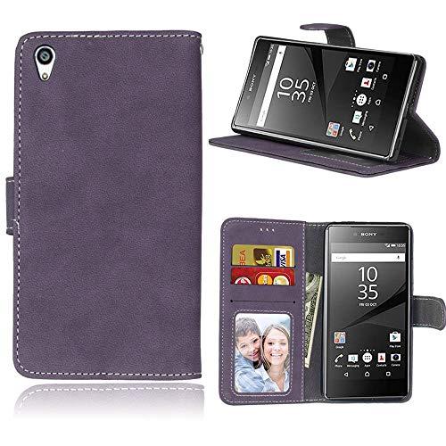 Sangrl Lederhülle Schutzhülle Für Sony Xperia Z5 Premium/Dual / Z5 Plus, PU-Leder Klassisches Design Wallet Handyhülle, Mit Halterungsfunktion Kartenfächer Flip Hülle Lila