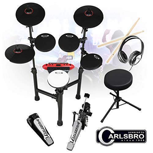 Carlsbro CSD130 R Electronic Drum Kit 8 Piece MIDI Sticks, Headphones, Stool