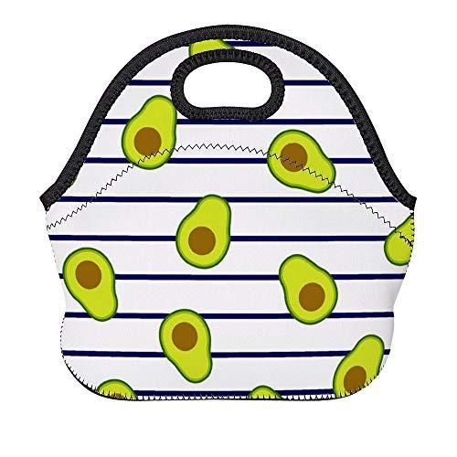 DKISEE - Bolsa térmica de neopreno para almuerzo, reutilizable, suave, con correa para el hombro para el trabajo y la escuela, bolsa Bento para mujeres, hombres y niños, aguacates en rayas marinas