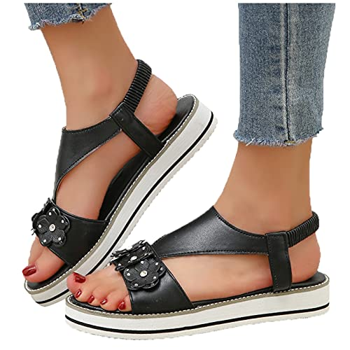 Xudanell Sandals for Women Platform Slip On Ankle Elastic Band Strappy Open Toe Leather Casual Leisure Summer Womens Sandals Black
