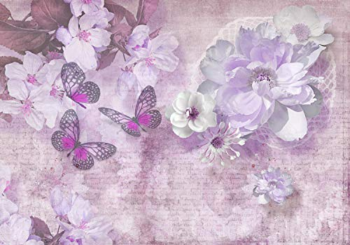 wandmotiv24 Fototapete Blumen Schmetterlinge lila, S 200 x 140cm - 4 Teile, Fototapeten, Wandbild, Motivtapeten, Vlies-Tapeten, Vintage, Diamanten, Zeichnung M1758