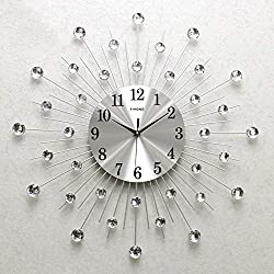 ADAHX Modern Metal Crystal 3D Wall Clock Morden Wall Clock Design Home Decor, Decorative Silent Clock for Living Room, Bedroom, Office Space,Silver,70cm(28in)
