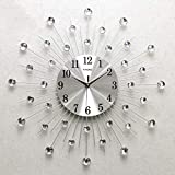 ADAHX Modern Metal Crystal 3D Wall Clock Morden Wall Clock Design Home Decor, Decorative Silent Clock for Living Room, Bedroom, Office Space,Silver,60cm(24in)