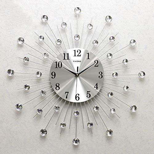 Moderno Reloj De Pared De Cristal Metálico 3D Morden Reloj De Pared Diseño Decoración Para El Hogar, Reloj Silencioso Decorativo Para Sala De Estar, Dormitorio, Espacio De Oficina,Silver,65cm(26in)