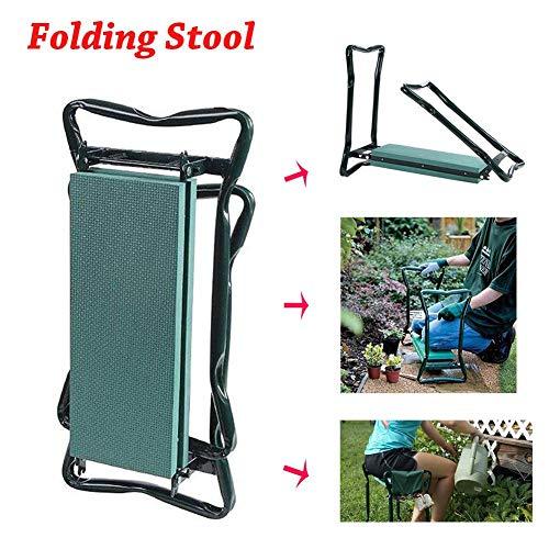 Opvouwbare tuinkruk Multifunctioneel tuingereedschap Tuinknieler en -stoel Opvouwbare kruk voor gemakkelijk opbergen, EVA-schuimkussen Tuinknielmatras en -zitje met kleine gereedschapstassen