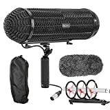 Movo BWS1000 Blimp Wind & Vibration Protection System for Shotgun Microphones - Features 12-point Internal Shockmount, Integrated XLR Cable, Furry Deadcat Windscreen & Grip Handle with Boom Attachment