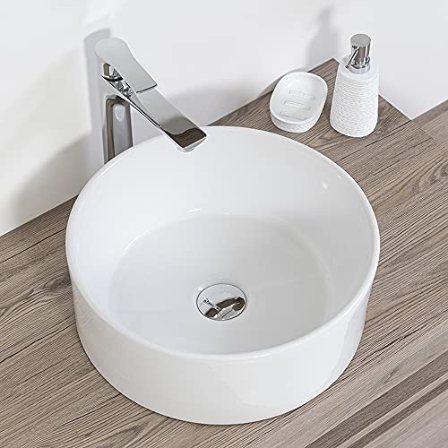 Inbagno Lavandino Bagno d'Appoggio Tondo in Ceramica Diametro 40 cm Bianco Lucido
