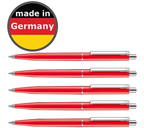 25 Stück Kugelschreiber Rot allpremio® Qualität – Mine ROT Strichstärke M – dokumentenecht nach ISO 12757-2 – Sparpack Druckkugelschreiber mit Metall Clip nachfüllbar