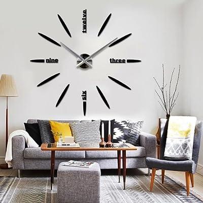 LightInTheBox Frameless DIY Wall Clock Large Mute Sticker Clock for Living Room Office Home Decorative (