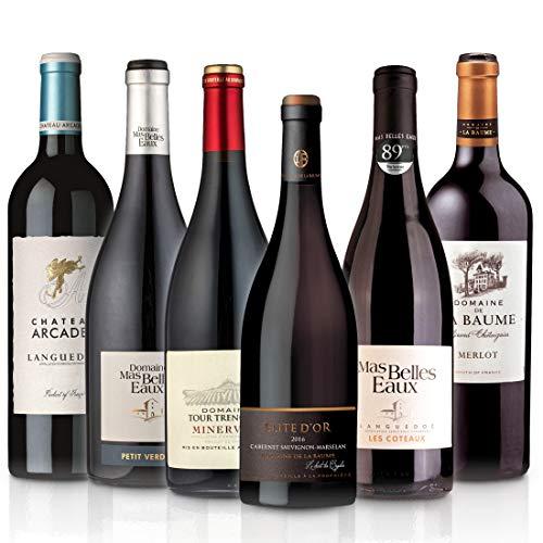 FEINSTE WEINE Weinselektion 'LANGUEDOC' (6 x 0,75 l) - Frankreich-Probierset mit trockenen Rotweinen aus dem Languedoc