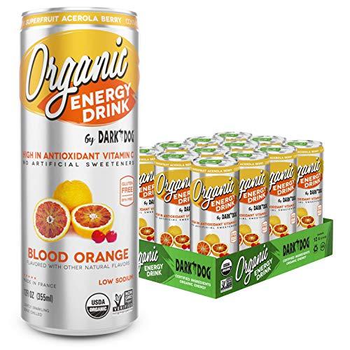 Organic Energy Drink Blood Orange By Dark Dog | 12 Oz (12Count) | Powerful Organic Caffeine From Green Coffee, Green Tea & Guarana | High In Antioxidant Vitamin C From Superfruit Acerola Berry |