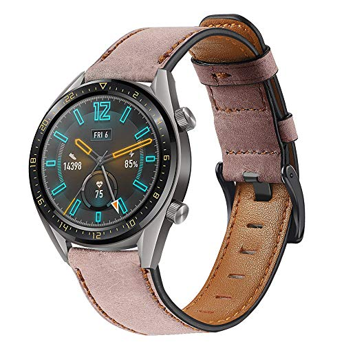 Miimall - Correa de reloj de piel de 22 mm compatible con Huawei Watch GT 2 46 mm GT 2ª