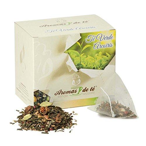 Aromas de Té - Té Verde Arcoiris en Bolsitas con Cardamomo, Canela, Trozos de Manzana, Rodajas de Naranja, Cilantro, Clavo y Pimienta Rosa, 10 Pirámides