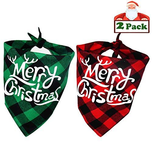 Malier Halstuch-Set für Hunde, klassisch, Büffelmuster, Schal, Dreieck, Lätzchen, Halstuch, Tierkostüm, Zubehör für kleine und mittelgroße Hunde und Katzen, Grün und Rot, 2 Stück