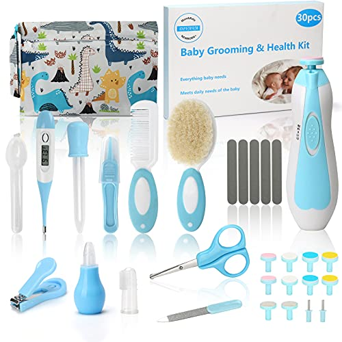 30 in 1 Divava Baby Healthcare Set and Grooming Kit Baby Safety Electric Nail Trimmer Set Newborn Care Kits Baby Hair Brush and Comb Set for Nursing Newborns Baby Toddler-Blue